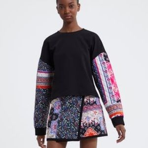 Sweatshirt with Quilted Sleeves